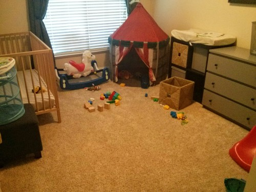 Josh's new toddler room. We have fun playing in there!